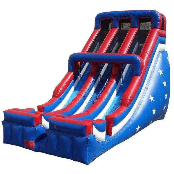24' Commercial Double Lane Inflatable Slide - Patriotic-Happy Jump-YardKid