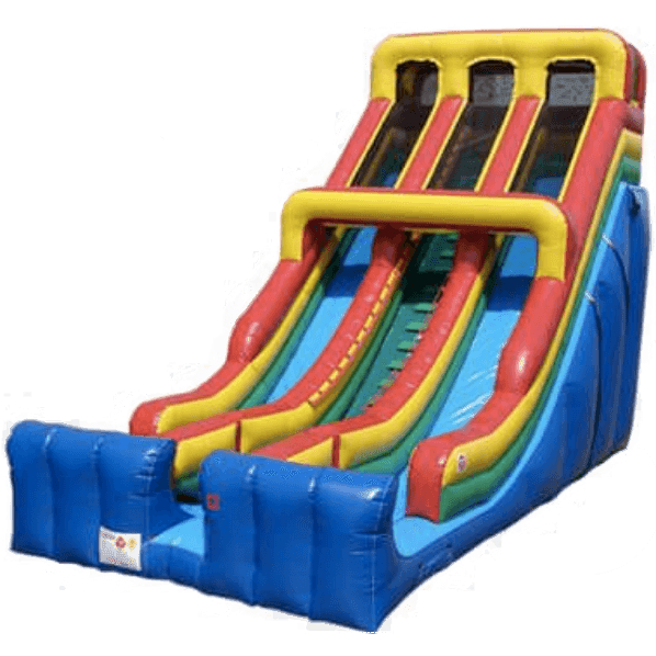 24' Commercial Double Lane Inflatable Slide - Primary Colors-Happy Jump-YardKid