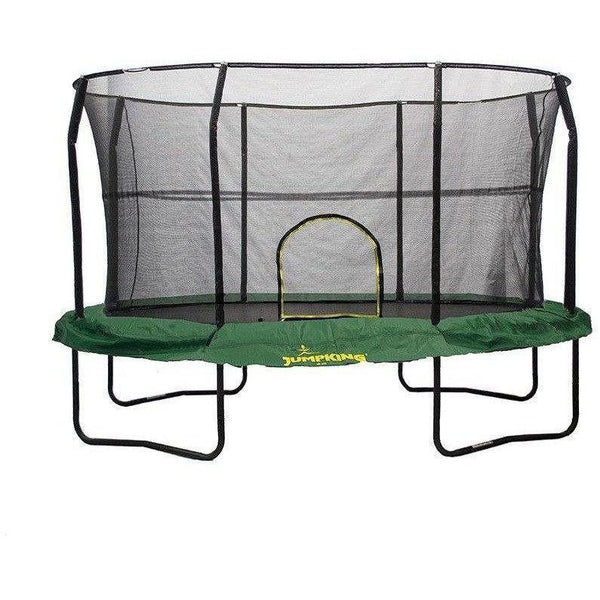 8x12 Oval Trampoline with Enclosure - Green-Jumpking-YardKid