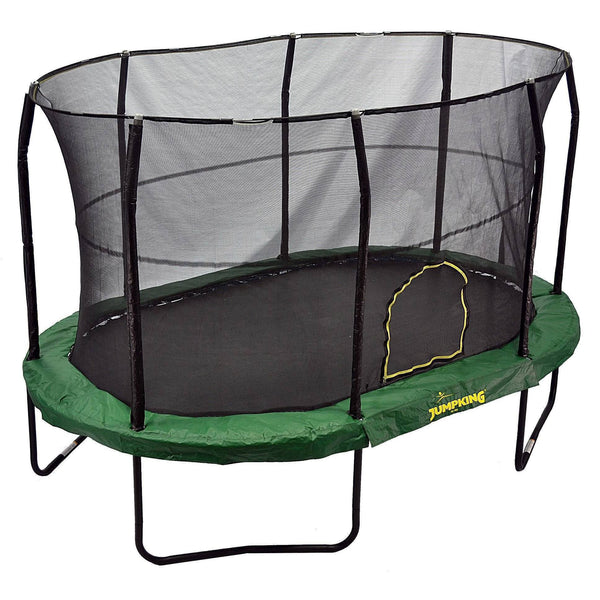 9x14 Oval Trampoline with Enclosure - Green-Jumpking-YardKid