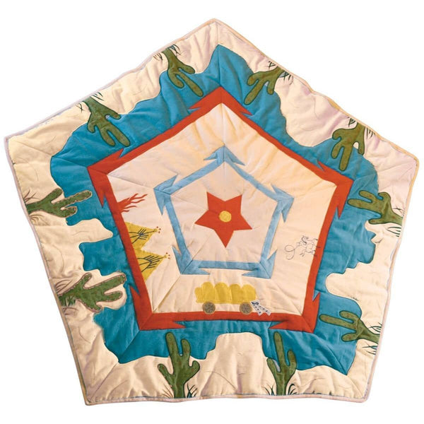 Cowboy Wigwam Floor Quilt-Win Green-YardKid