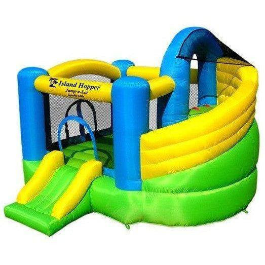 Curved Double Slide Bounce House-Island Hopper-YardKid