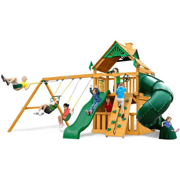 Mountaineer Clubhouse Swing Set - Optional Treehouse and Fort - Various Roofs-Gorilla Playsets-YardKid