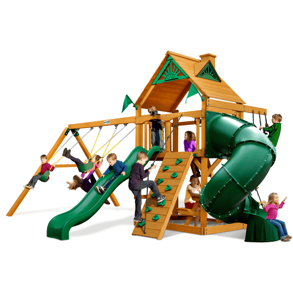 Mountaineer Swing Set - Optional Treehouse and Fort - Various Roofs-Gorilla Playsets-YardKid