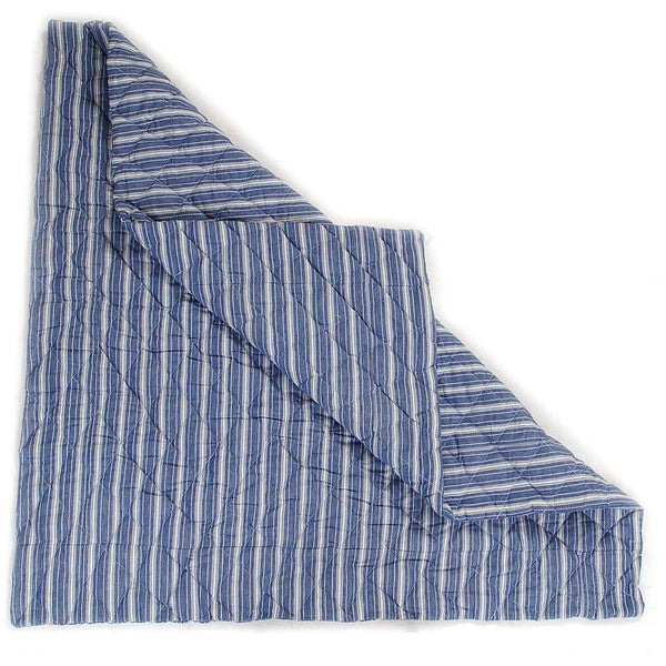 Multi-Stripe Wigwam Floor Quilt - Navy-Win Green-YardKid