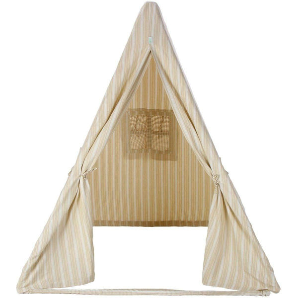 Multi-Stripe Wigwam Tent - Natural-Win Green-YardKid
