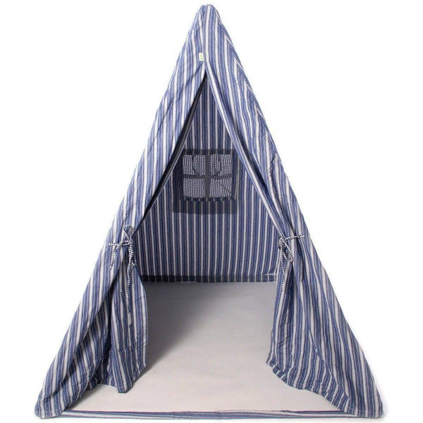 Multi-Stripe Wigwam Tent - Navy-Win Green-YardKid
