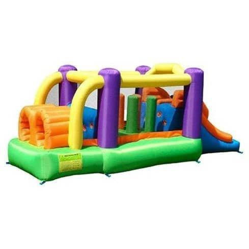 Obstacle Speed Racer Bounce House with Double Lane Slide-KidWise-YardKid