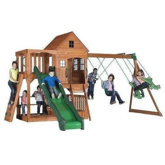 Pacific View Wooden Swing Set-Backyard Discovery-YardKid