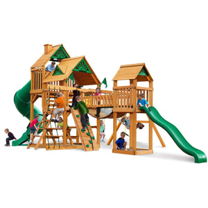 Treasure Trove I Swing Set - Optional Treehouse - Various Roofs