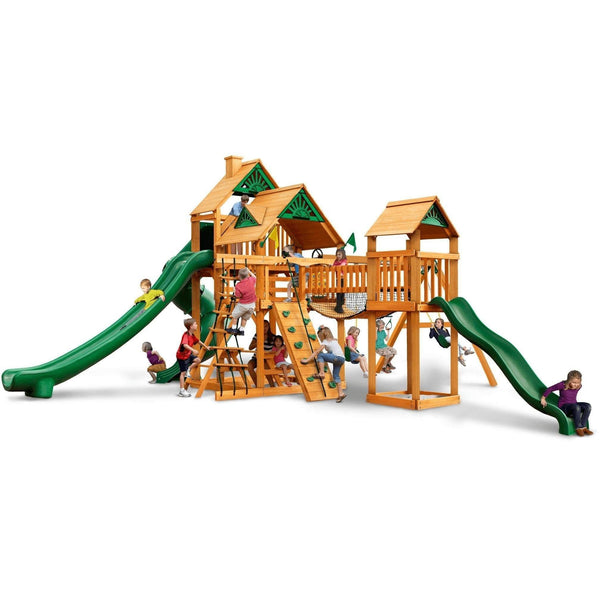 Treasure Trove II Swing Set - Optional Treehouse - Various Roofs-Gorilla Playsets-YardKid