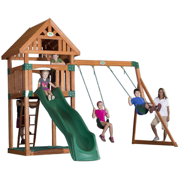 Trek Wooden Swing Set-Backyard Discovery-YardKid