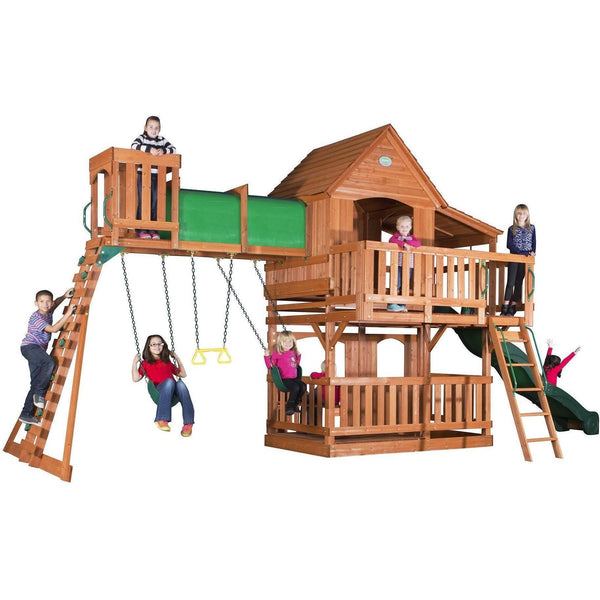 Woodridge II Wooden Swing Set-Backyard Discovery-YardKid