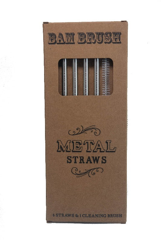 Reusable Metal Straws + Cleaning Brush (4 Pack)