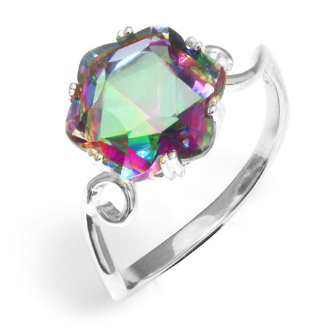 3.2ct Mystic Topaz Ring /925 Sterling Silver