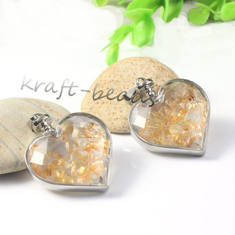 Citrine Heart Pendant Wish Bottle