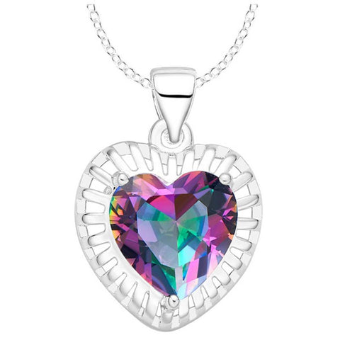 Heart Rainbow Mystic Topaz Necklace