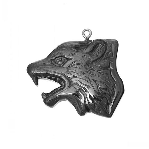 Natural Wolf Head Hematite Pendant - HiddenCrystals