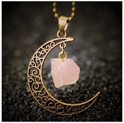 Love Stone Moon Necklace - HiddenCrystals
