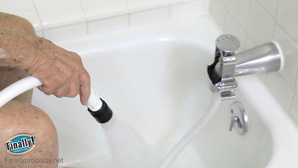 home care bathtub adapter shower kit for handicapped elderly finally products corp. Black Bedroom Furniture Sets. Home Design Ideas