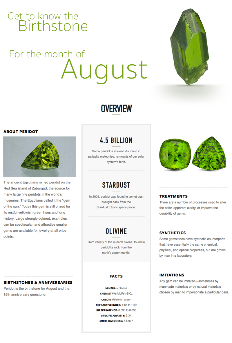 Facts about Peridot the Birthstone for August
