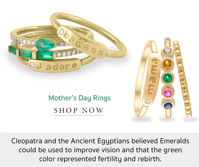 emerald may birthstone stackable rings