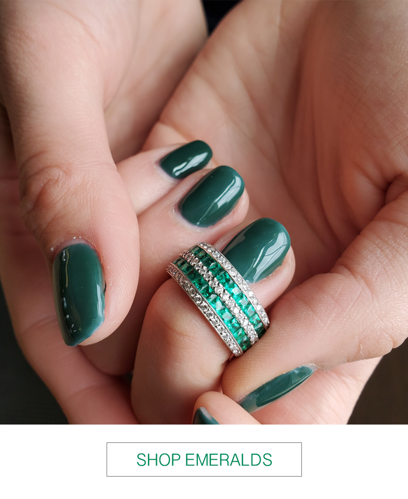 emerald diamond double row band ring