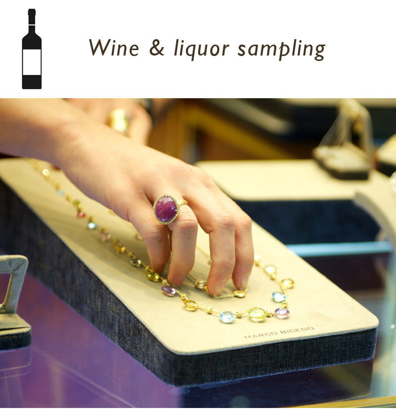 nagi jewelers wine liquor sampling happy hour