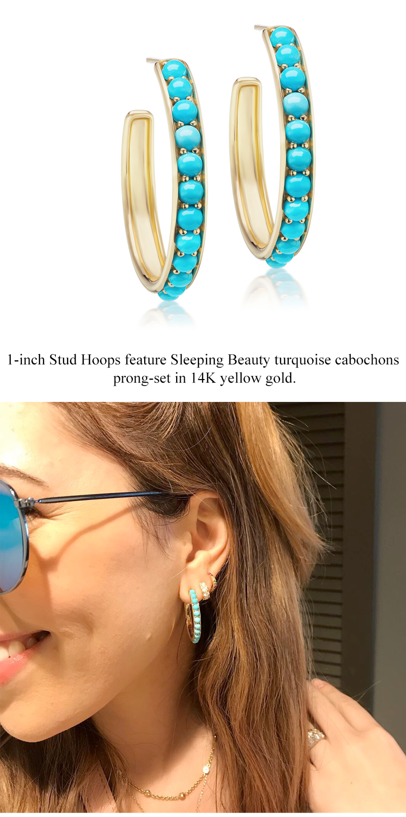 Jane Taylor turquoise hoop earrings