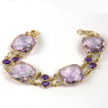 Amethyst Cushion Cut Double Row 18K Gold Bracelet by NAGI