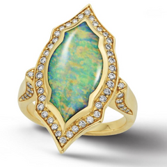 The Kabana Opal Inlay Yellow Gold Diamond Gothic Ring