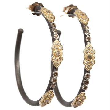 Armenta Old World 18K Gold & Oxidized Silver Champagne Diamond Hoop Earrings