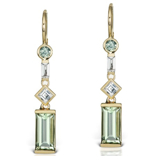 Jane Taylor Cirque Earrings with Green Quartz, Sapphire, and White Topaz