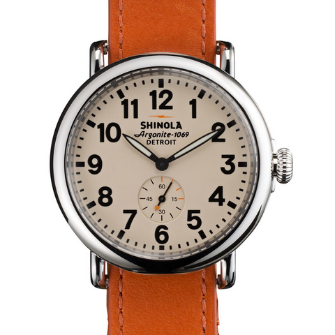 Shinola Runwell Orange Leather Strap Cream Dial 41mm Watch S0110000032