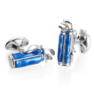 Deakin & Francis Blue Enamel Golf Club Bag Silver Cufflinks