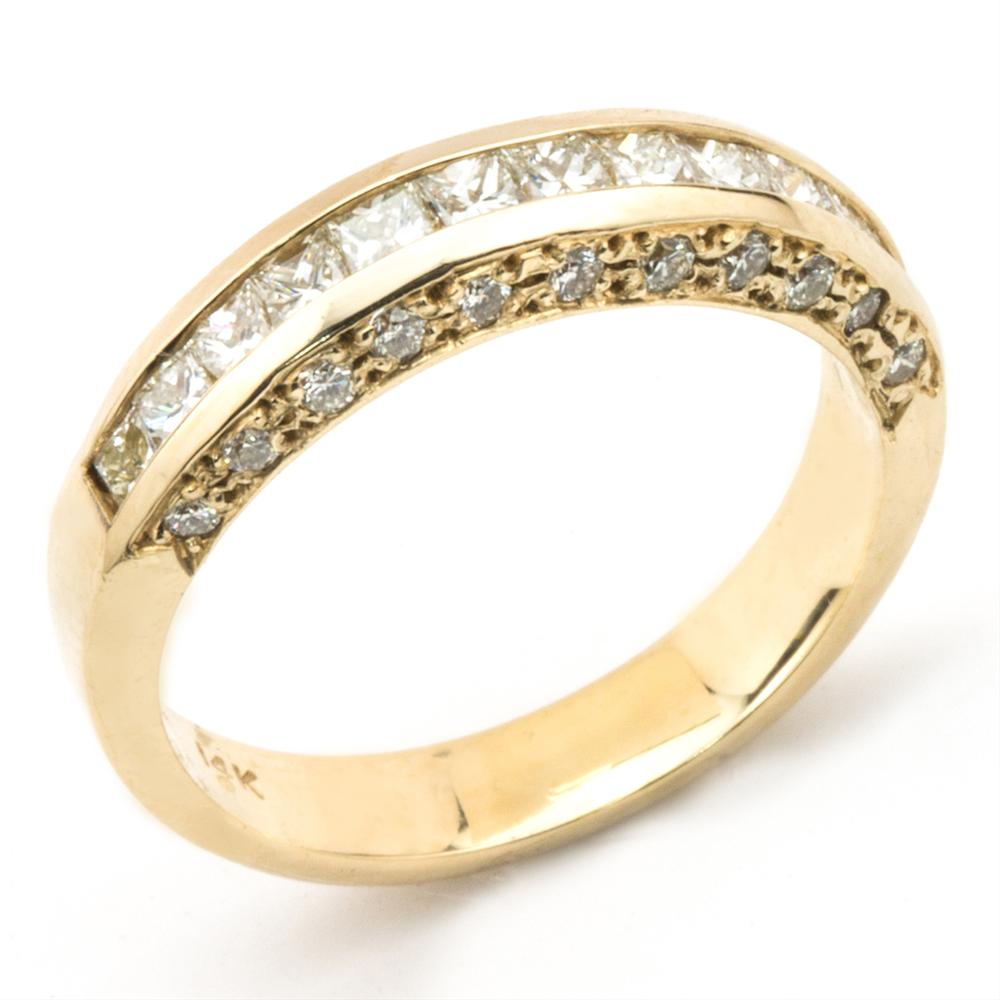 Princess & Round Diamond Channel Set 18K yellow Gold Wedding Band Ring