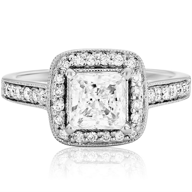 Princess Diamond Square Halo White Gold Engagement Ring with Milgrain