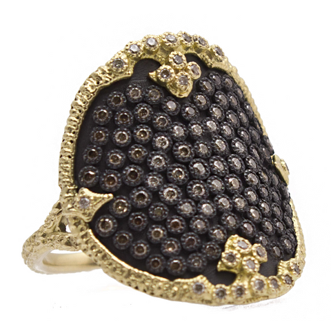 Armenta Ombre Shield Ring Champagne Diamonds in Oxidized Silver & 18K Yellow Gold