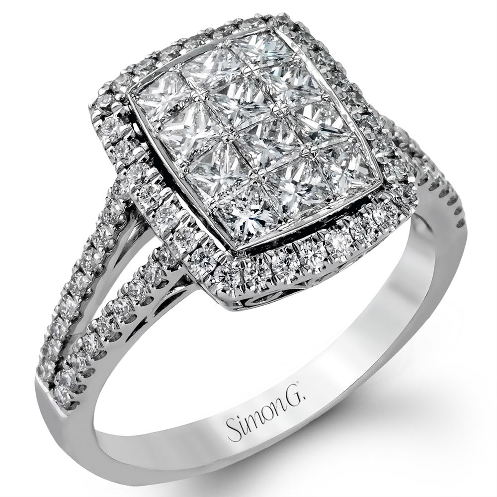 Simon G. Princess Diamond Rectangular Right Hand Cocktail Ring MR1761