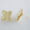 Roberto Coin Princess Flower Plain Medium Stud Earrings 18K Yellow Gold