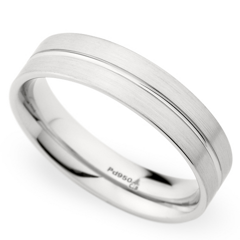 Christian Bauer Men's 14K White Gold 5.5mm Brushed Wedding Band Ring