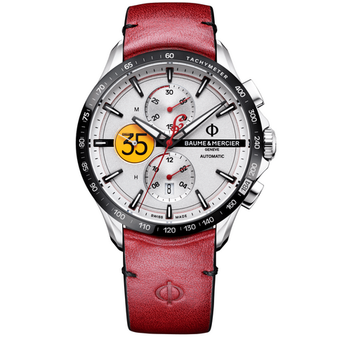 Baume & Mercier 44MM Limited Edition Burt Munro Clifton Indian Motorcycle Red & Black Calfskin Watch M0A10404