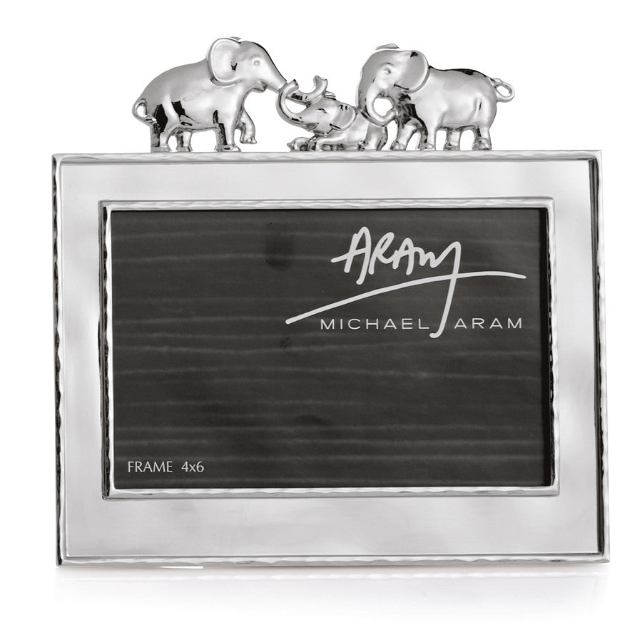 mom, dad and baby elephant photo frame