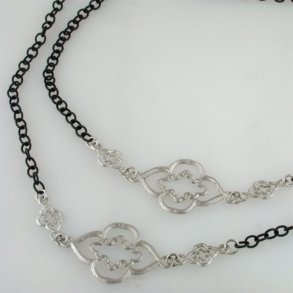 Armenta Oxidized Blackened Silver Cable Chain with Large Scroll Stations