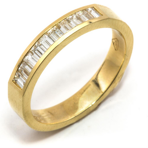 Baguette Diamond Channel Set 18K Yellow Gold Wedding Band Ring 1/2 Carat