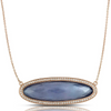 "Doves ""Parisian Plumb"" Purple Amethyst, Lapis, Mother of Pearl Elongated Oval Shape Pendant Necklace with Diamond Halo"