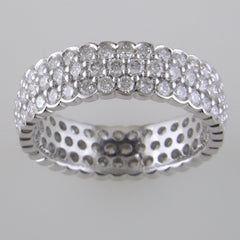 Simon G. Three Row Round Diamond 18K White Gold Ring Stackable Band LP1966 2.25 carats