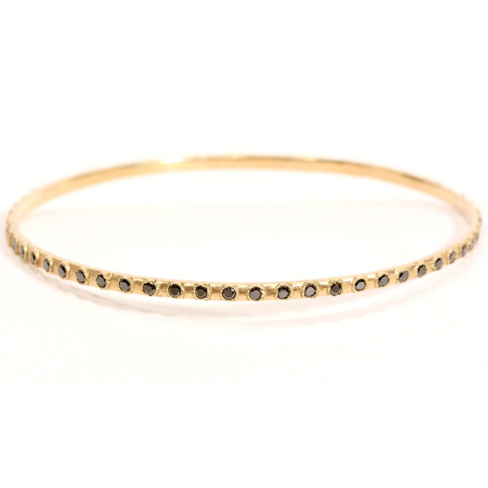 Armenta Yellow Gold Bangle Stackable Bracelet with Black Diamonds