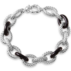 Charles Garnier Sterling Silver Woven Link Bracelet With Black Onyx