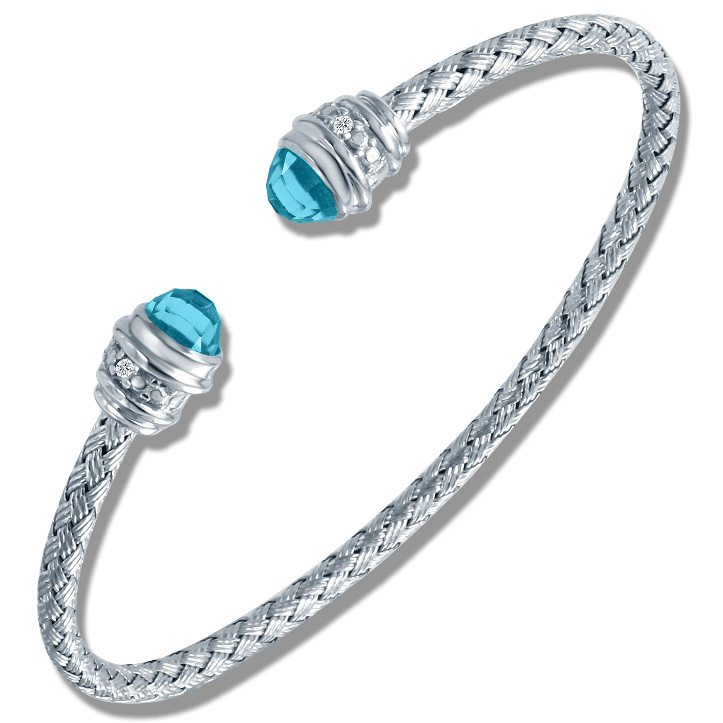 Charles Garnier Sterling Silver 3mm Sunset Mesh Cuff Bracelet With Blue Topaz and Diamonds 0.02 CT